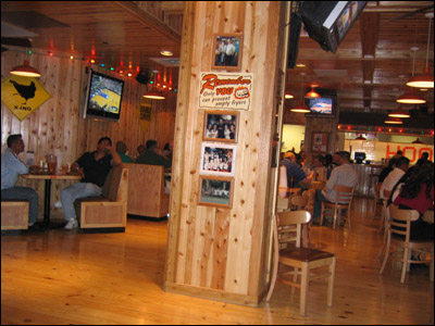 Hooters Restaurant's wood interior