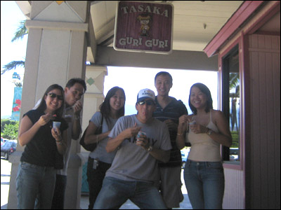 Noelle, Kelvin, Hillary, myself, Grant and Shari outside of Tasaka Guri Guri