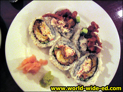 Spider Roll - deep fried soft shell crab with cucumber for $11.50