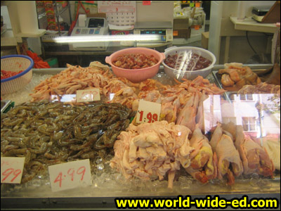 Seafood and poultry selection in Chinatown