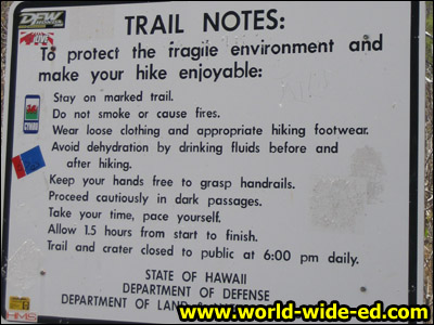 Trail Notes sign