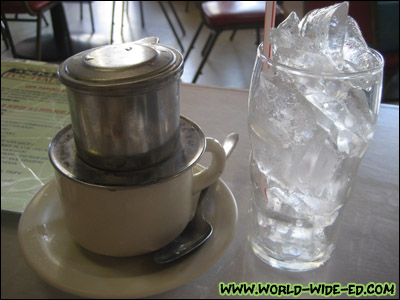 Café Sua Nong Hoac Da (French filtered Coffee with Condensed Milk) - $2.75 goes from this...