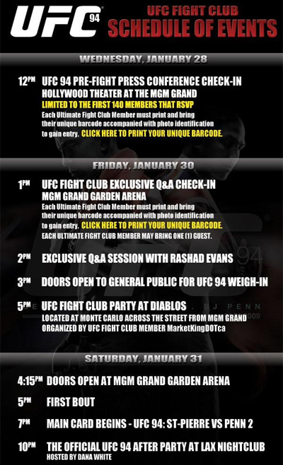 UFC 94 Schedule of Events poster