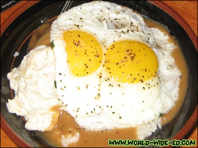 Braised Shortrib Loco Moco With Natural Pan Gravy and Two Eggs - $12