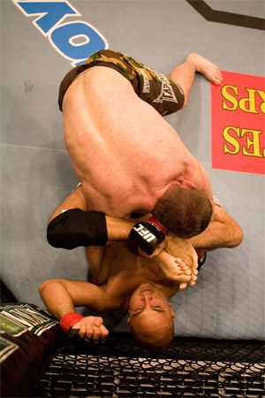 Penn displaying his flexibility against Matt Hughes at UFC 63 (Photo Courtesy: UFC)
