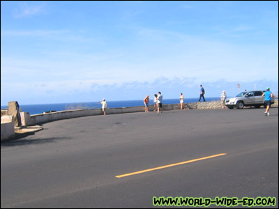 Tourists taking in the sights on Kahala Ave