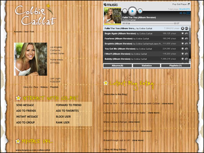 Colbie Caillat's Myspace Page