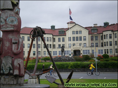 View of the Sitka Pioneers Home from Totem Square [Photo Credit: Andi Kubota]