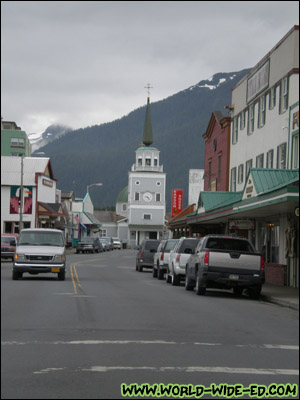 View of Sitka town (and St. Michael's Cathedral) from Lincoln Street [Photo Credit: Andi Kubota]