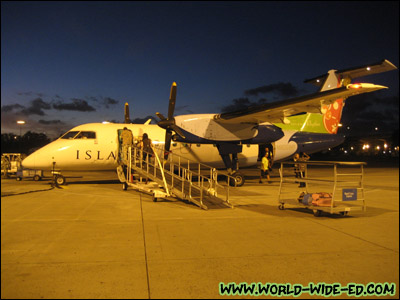 Boarding our Lana`i bound plane at sunset via Island Air