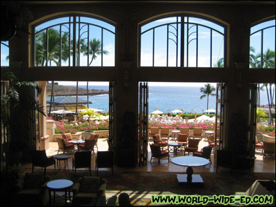 Looking out into Hulopo`e Bay from the Manele Bay resort lobby area