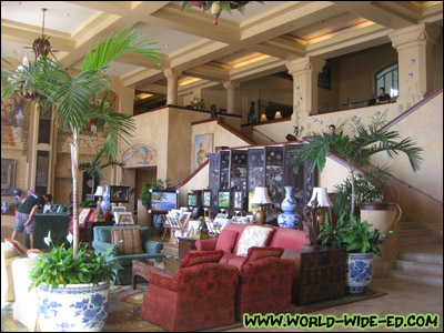Looking into the Manele Bay resort lobby area