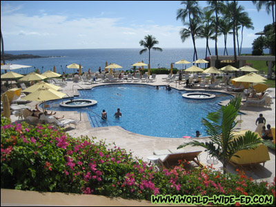 The pool area at the Manele Bay resort
