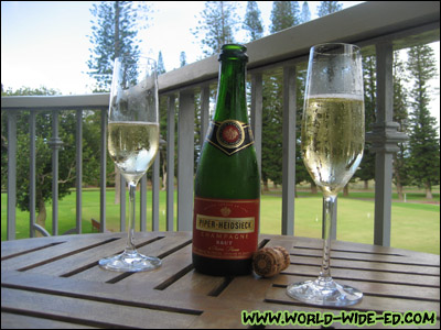 Piper-Hiedsieck Brut Champagne, compliments of the Four Seasons Resort's Lodge at Koele.