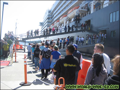 Waiting in line to board our ship