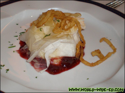 Golden Baked Brie in Phyllo Dough - Served with a cinnamon-spiced apple cranberry compote [Photo credit: Andi Kubota]