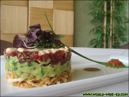 Chopped Ahi Sashimi and Avocado Salsa Stack - Stacked Crispy Won Ton, Spicy Aioli and Wasabi Soy ($19.50)