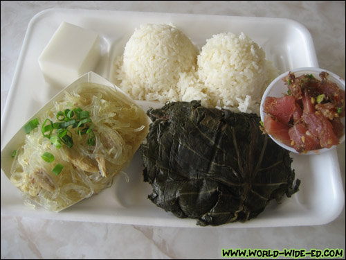 "My ""custom"" plate with Lau Lau and Chicken Long Rice, which included Limu Poke, Haupia and two scoops rice!"