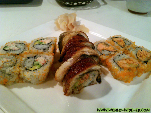 Samples of the California Roll, Unagi Cali Roll, and Baked Alaska Roll