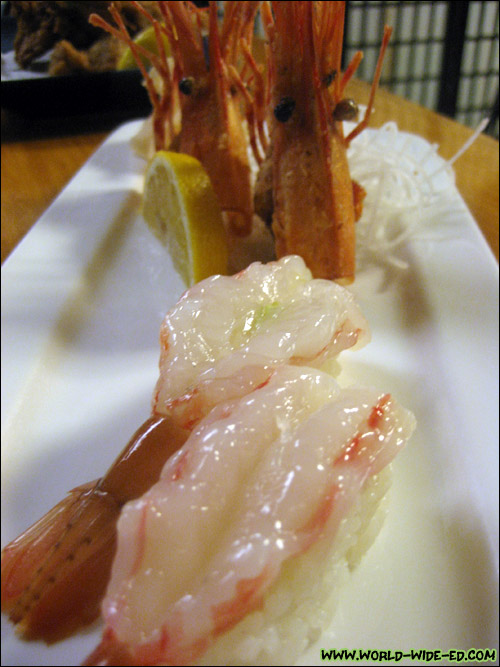 Ama Ebi (raw shrimp) with deep fried head