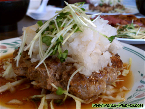 Japanese Hamburger Steak - Home-style hamburger patty topped with grated daikon, daikon sprouts, and tangy Ponzu sauce ($7.50)