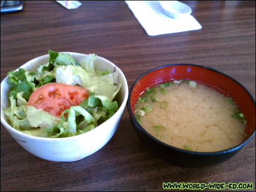 Green salad and miso soup