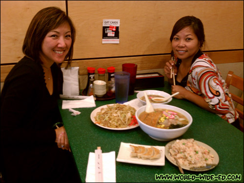 Wendy and Maribel pose with our spread from Genki Ramen