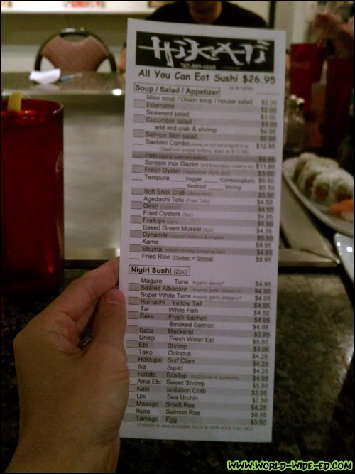 All you can eat sushi menu from Hikari