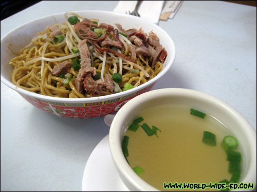 Sam Sato's Dry Mein order with broth (S - $4.95, L - $5.75, Double - $7.25)