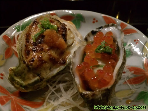 2 types of Washington Oysters: 1 baked & 1 fresh with Alaskan King Salmon Caviar