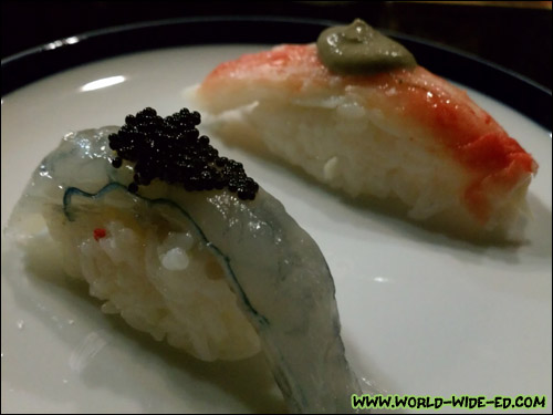 Russian King Crab with Kani Miso (background) & Prawn from New Caledonia with black Flying Fish Caviar (foreground)