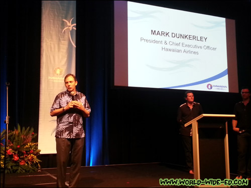 Hawaiian Airlines President and CEO Mark Dunkerley addresses the crowd