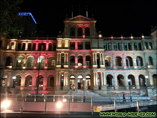 Remember the Treasury Casino & Hotel earlier today? Here's what it looked like at night.