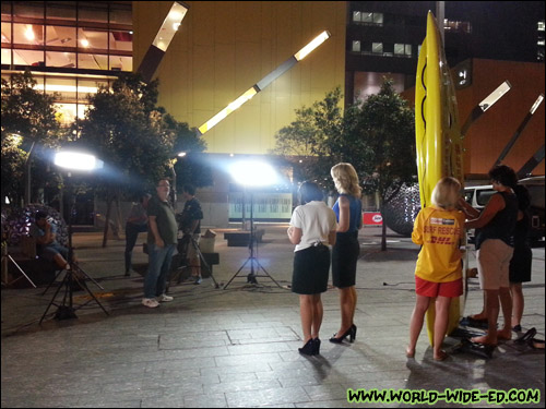 Walking through Brisbane Square, we saw some filming going on, which appeared to be a TV news segment.