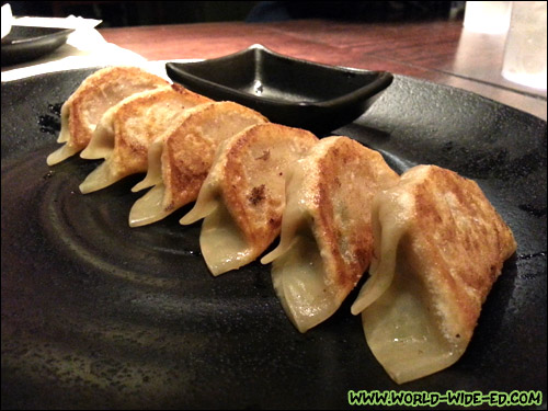 Agu Gyoza - 6 pc, ground pork, cabbage and nira (garlic chives) - $5.25