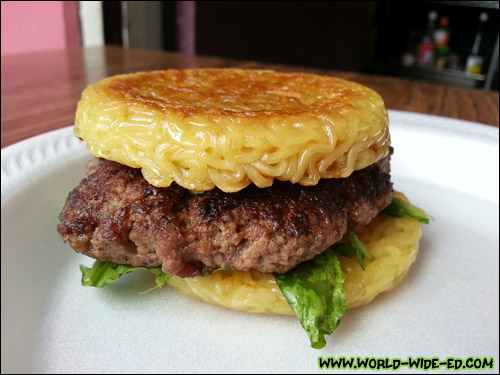 The money shot - The Original Ramen Burger by Keizo Shimamoto