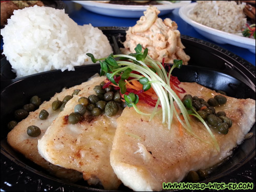 Island Fresh Shutome with Ginger, Butter & Capers ($12.95)