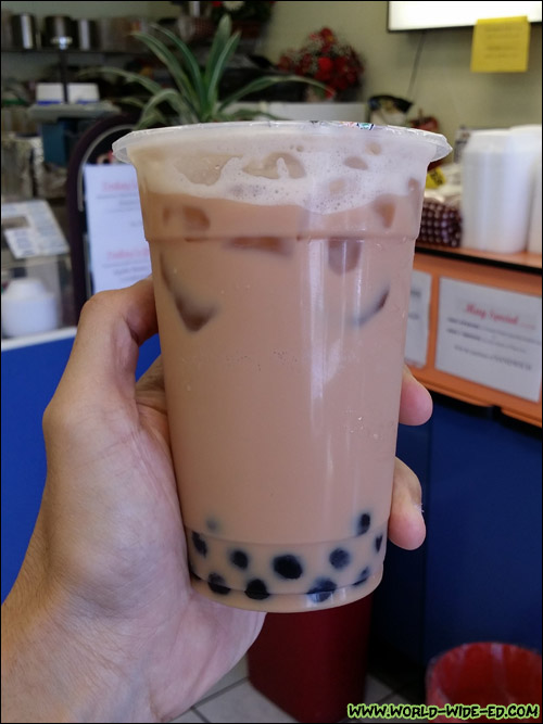 Tall Black Milk Tea from City Cafe ($2.63 + $0.72 for tapioka)