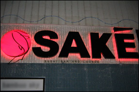Osake Sushi Bar and Lounge sign outside