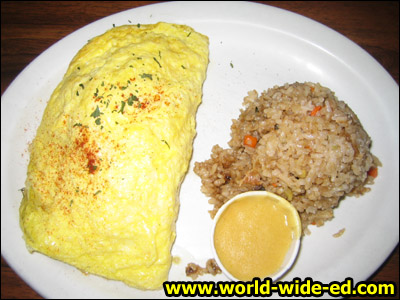 Mushroom / broccoli omelette with a side scoop of fried rice