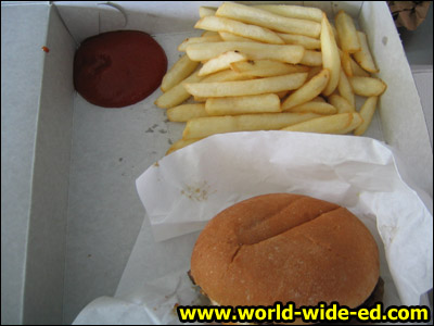 Rainbow Drive-In's Hamburger and fries