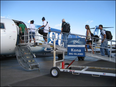 Boarding go! Airlines to Kona, Hawaii