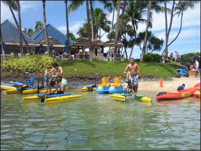 Playing on the water bikes at the Lagoon