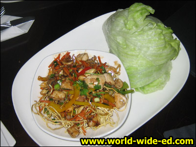 Chinatown Lettuce Wraps - Hoisin vegetables, crispy noodles, peanuts & fresh cilantro. Veggie ($8.99) Add chicken or shrimp ($2.99)