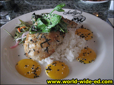 Panko and Nori-Crusted Alaskan Halibut - with Lemongrass scented sticky rice, black bean wilted pea vines, sunomono salad, and a spring carrot vinaigrette ($29.95)
