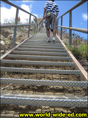 54 metal stairs to the summit