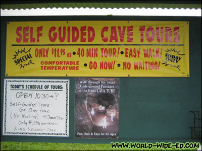 The Hana Lava Tube at Ka`eleku Caverns - Sign