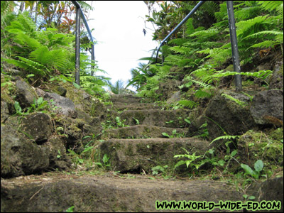 Steps out of the Hana Lava Tube at Ka`eleku Caverns