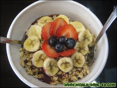 Small Açai Bowl topped with bananas, berries, honey - $6.75