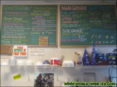 Diamond Head Cove Health Bar inside menu